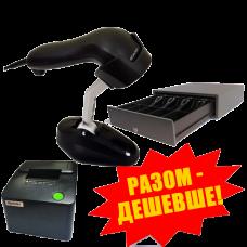 """Комплект торгового оборудования """"Все в 1"""" (Принтер чеков Xprinter XP-С58Е USB + Ручной сканер штрих-кода Scantech SD 380 + Денежный ящик HPC-13S (Push-Push))"""