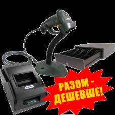 """Комплект торгового оборудования """"Все в 1"""" (Принтер чеков Xprinter XP-58IIL + Ручной сканер штрих-кода Symbol LS 2208 + Денежный ящик HPC-13S (Push-Push))"""