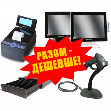 """Комплект торгового оборудования """"Все в 1"""" (Фискальный регистратор MG-N707TS + Ручной сканер штрих-кода Symbol LS 2208 + Денежный ящик HPC-13S 6B + POS-терминал GEOS A1502C)"""