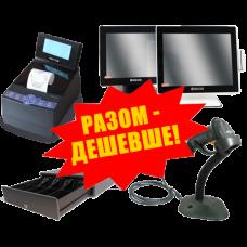 """Комплект торгового оборудования """"Все в 1"""" (Фискальный регистратор MG-N707TS + Ручной сканер штрих-кода Symbol LS 2208 + Денежный ящик HPC-16S 6B + POS-терминал GEOS A1502C)"""