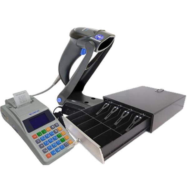 Комплект торгового оборудования «Все в 1» (кассовый аппарат, сканер штрих-кодов, денежный ящик)