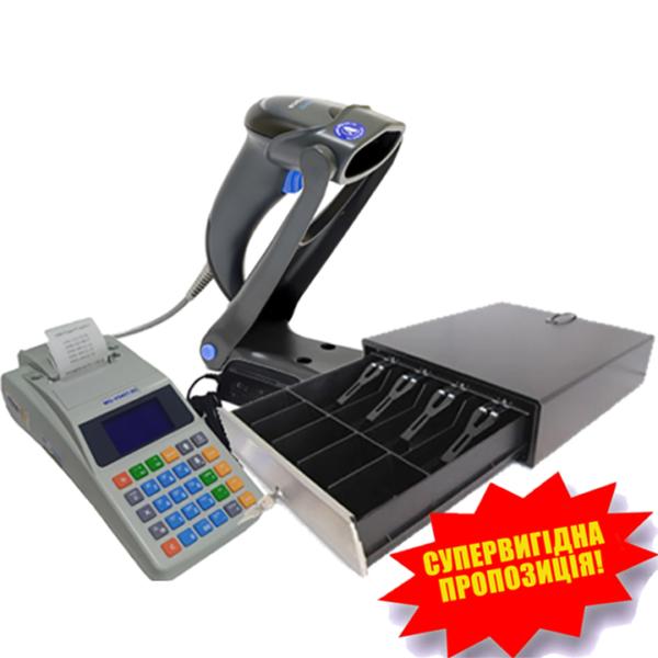 Комплект торгового оборудования «Все в 1» (кассовый аппарат MG-V545T.02, сканер штрих-кодов QuickScan Lite QW2100, денежный ящик НРС-16SP-3P)